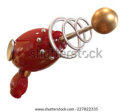 red Vintage Ray Gun on white background with clipping mask