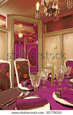 red vintage restaurant - stock photo