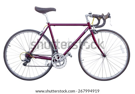 red vintage road bike isolated - stock photo