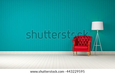 red vintage sofa on blue  the room 3d rendering - stock photo