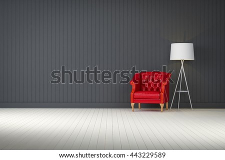 red vintage sofa on the black  room 3d rendering - stock photo