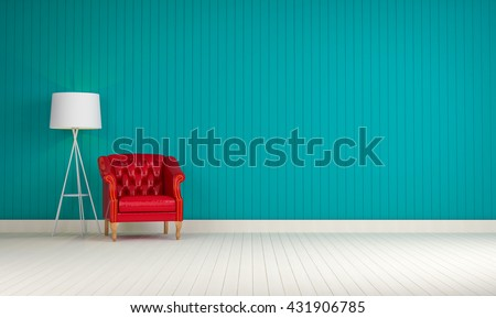 red vintage sofa on the blue room 3d rendering - stock photo