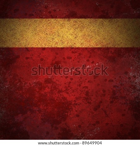red vintage stained background illustration with blotchy texture design and gold parchment ribbon stripe layout on border of frame for blank copy space for title or ad on cover - stock photo