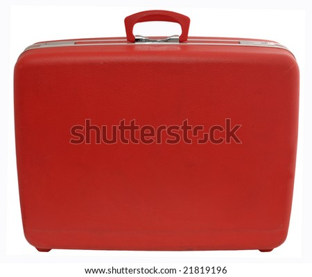 Red vintage suitcase, isolated on white, with clipping path