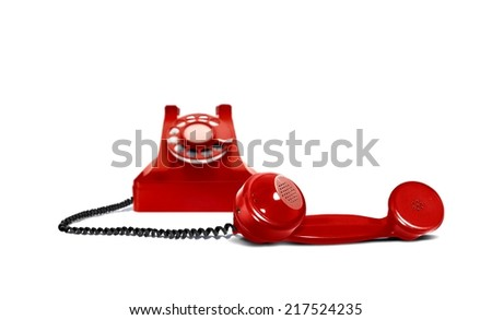 Red Vintage Telephone and Receiver - stock photo