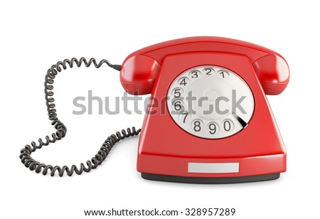 Red vintage telephone isolated on white background. Front view. 3d illustration.