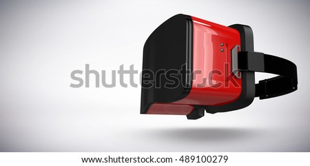 Red virtual reality simulator against grey background