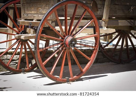 red wagon wheel - stock photo