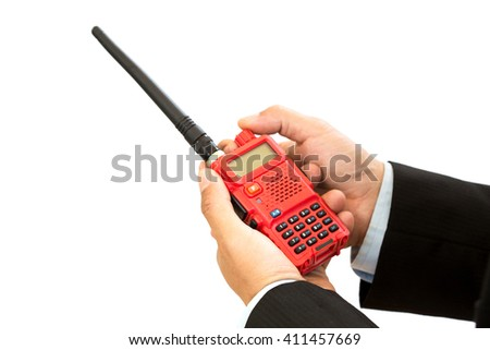 Red Walkie Talkie Handheld on White background for business - stock photo