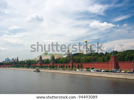 Red wall and Moscow panorama - stock photo