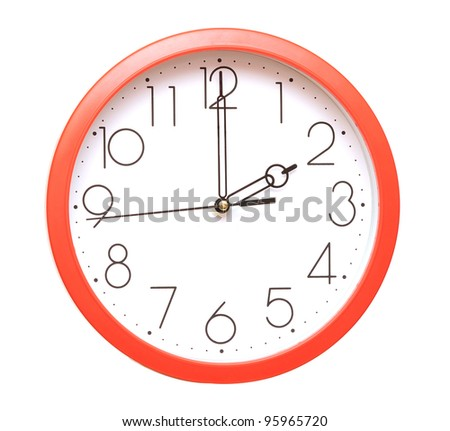 red wall clock on white - stock photo