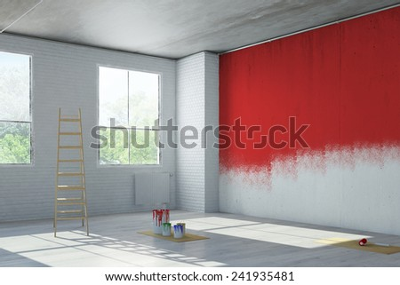 Red wall paint during renovation in an old loft building (3D Rendering) - stock photo