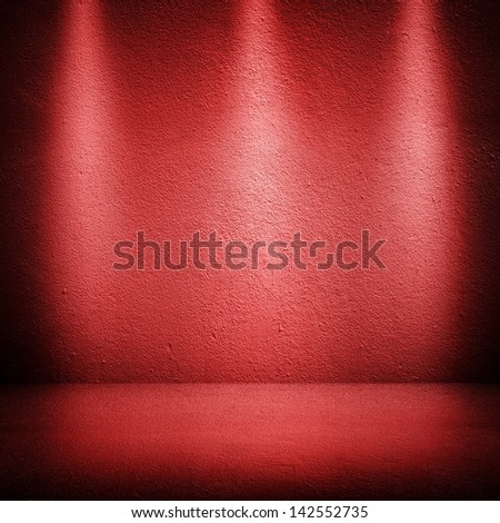 red wall with spot lights - stock photo