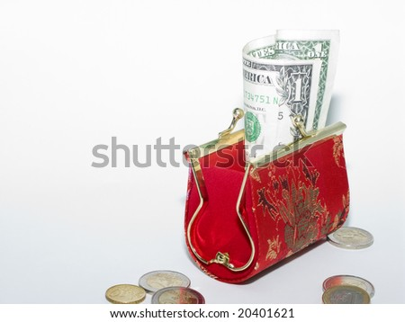 Red wallet and money - stock photo