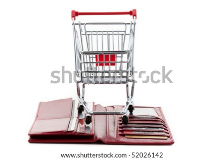 Red Wallet with Credit Card, Shopping Cart