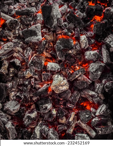 Red Warm Black Coal Background Texture - stock photo