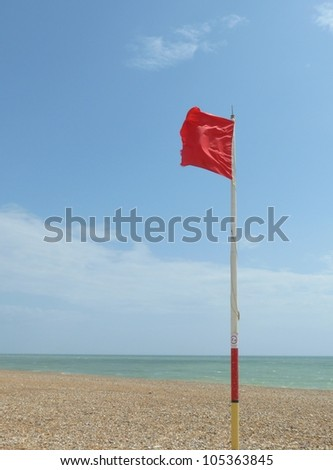 Red warning flag at beach