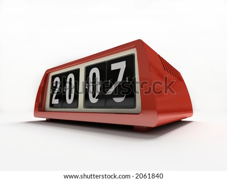 Red watch - counter on white background New year - stock photo