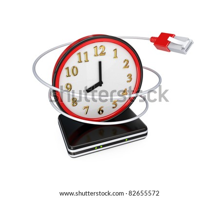 Red watch, patchcord and router. 3D rendered. Isolated on white background. - stock photo