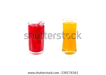 red water and orange juice  isolate on white background - stock photo