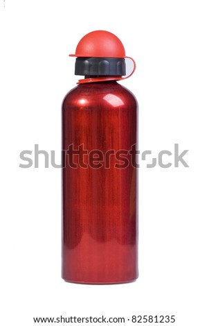 red water Bottle  on white background - stock photo