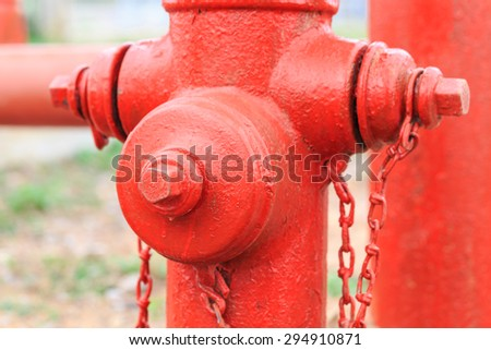 red water pump for fire fighting in close up - stock photo