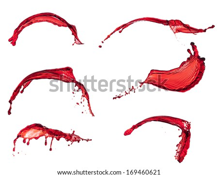 red water splash collection - stock photo
