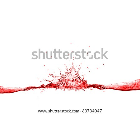 Red water splash isolated on white background - stock photo