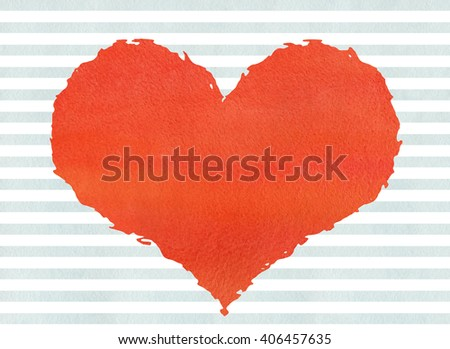 Red watercolor grunge heart on watercolor blue stripes background.  Red grunge heart on abstract watercolor background with blue stripes. - stock photo