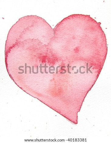 red watercolor heart background - stock photo