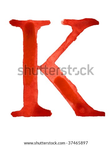 Red watercolor letter K