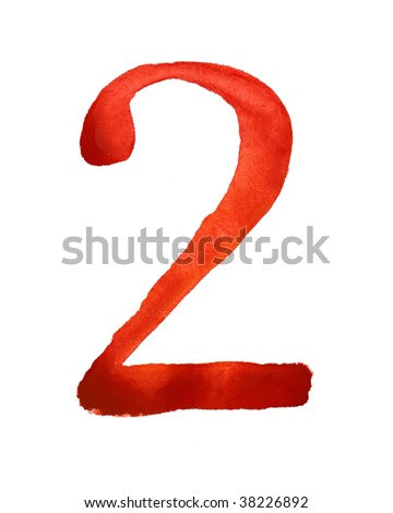 Red watercolor number - stock photo
