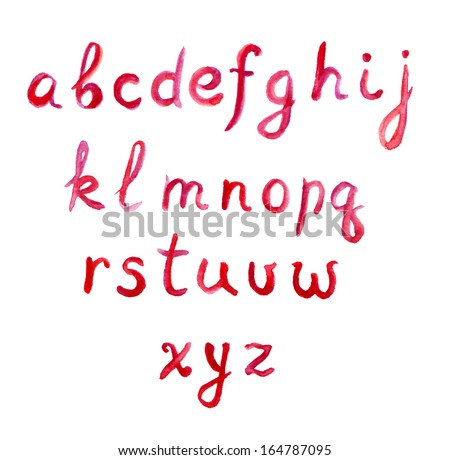 Red watercolor painted abc font - stock photo