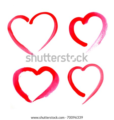 red watercolor Painted Heart - stock photo