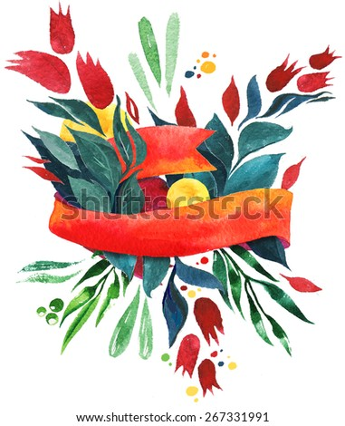 Red watercolor ribbon with flowers and elements. Design element isolated on white background - stock photo