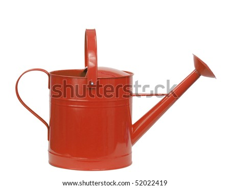 red watering can isolated on white - stock photo