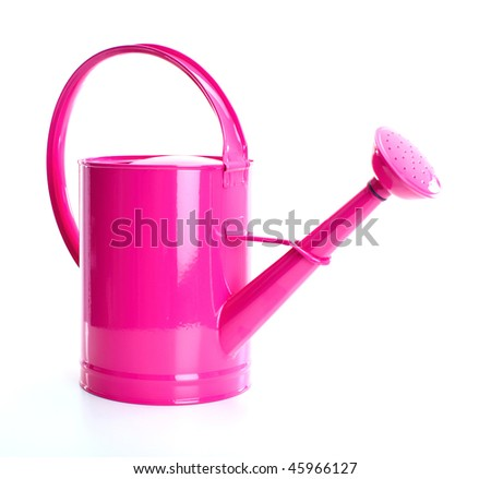 Red watering can. Isolated over white background