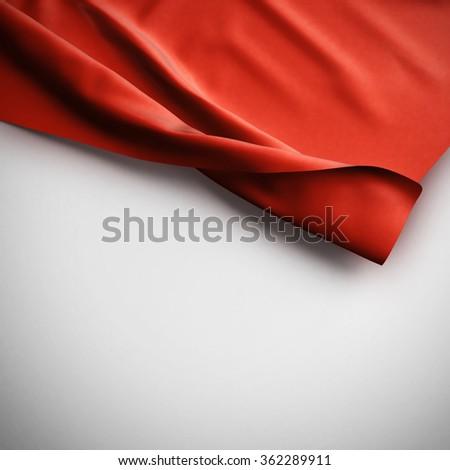 Red Waving flag background. Luxury fabric background. - stock photo