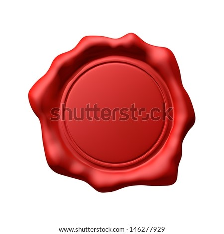Red Wax Seal 3 - Isolated - stock photo