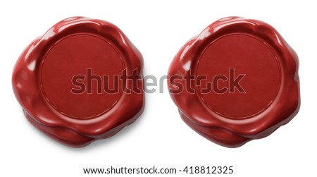 Red wax seal isolated