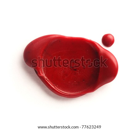 Red wax seal isolated on white - stock photo