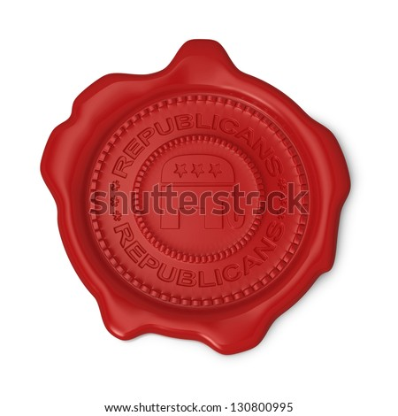 Red wax seal of approval as Republicans party symbol on white background - stock photo