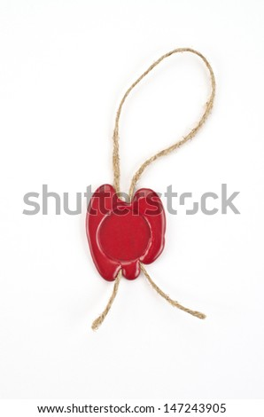 Red wax seal on white background   - stock photo