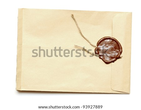 red wax seal on yellow envelope. Secret, security concept. - stock photo