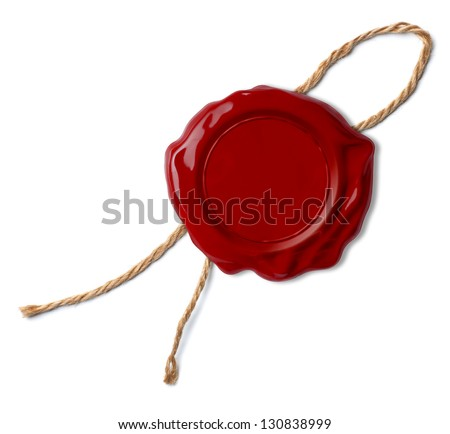 Red wax seal or stamp isolated - stock photo