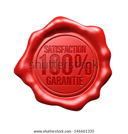 Red Wax Seal - Satisfaction 100% Garantie - stock photo