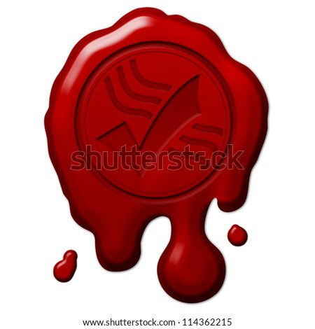 Red Wax Seal with approved sign embossed... Melted wax with shadow and highlight isolated on white background - stock photo