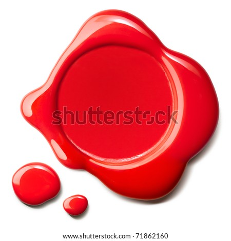 red wax seal with drops isolated over white background