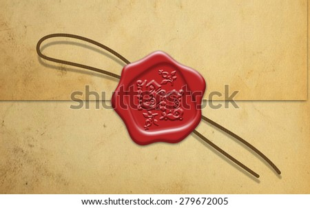 Red wax seal with rope  - stock photo