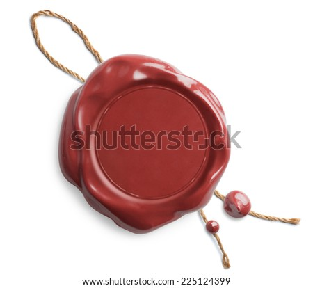 Red wax seal with rope isolated on white - stock photo